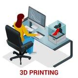 Het jonge vrouw of school 3D model van de meisjesdruk op 3D printer Ontwikkeling en druk van kleding Isometrische vector Royalty-vrije Stock Afbeeldingen