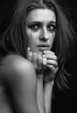 Het jonge vrouw schreeuwen Stock Foto's