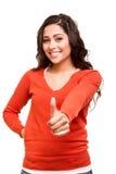 Het jonge vrouw tonen beduimelt omhoog Royalty-vrije Stock Foto