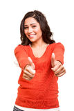 Het jonge vrouw tonen beduimelt omhoog Royalty-vrije Stock Afbeelding
