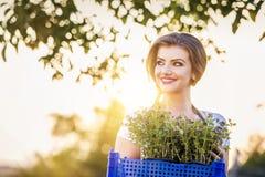 Het jonge vrouw tuinieren Stock Afbeeldingen