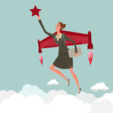 Het jonge vrouw vliegen met een raket neemt greep van een ster De bedrijfsgroei en startconcept Royalty-vrije Stock Afbeelding