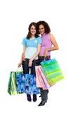 Het jonge vrouw winkelen, geïsoleerdn op wit Stock Afbeelding