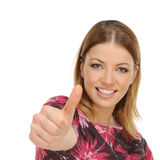 Het jonge vrouwelijke tonen duimen omhoog Stock Afbeelding