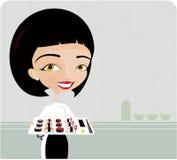 Het jonge vrouwen koken Royalty-vrije Stock Afbeeldingen