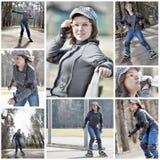 Het jonge vrouwenrol schaatsen Stock Afbeeldingen