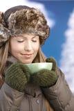 Het jonge wijfje kleedde warme het genieten van hete thee Stock Foto