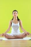 Het jonge yoga vrouwelijke yogatic doen exericise Stock Afbeelding