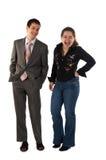 Het jonge zakenman en meisjes lachen Stock Fotografie