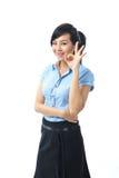Het jonge zekere Aziatische bedrijfsvrouw glimlachen Stock Afbeeldingen