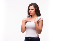 Het jonge zieke of koude meisje voelt slecht Stock Foto's