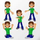 Het jongenskind is een mens in verschillend stelt en verschillende gebaren voor decoratie van creativiteit royalty-vrije illustratie