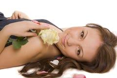Het jongere meisje met nam toe Royalty-vrije Stock Foto