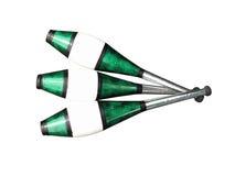 Het jongleren van met clubs op wit Stock Fotografie