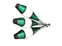 Het jongleren van met clubs op wit Royalty-vrije Stock Afbeelding