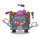 Het jongleren van met miniatuur oude vrachtwagen als karaktervoorzitter vector illustratie