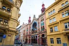Het Jubileumsynagoge van Jeruzalem in Praag, Tsjechische Republiek Stock Foto's