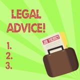 Het Juridische Advies van de handschrifttekst Concept die die Aanbevelingen betekenen door advocaat of van de wetsadviseur deskun vector illustratie