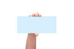 Het kaartje van de de luchtvaartlijn instapkaart van de handholding over wit wordt geïsoleerd dat royalty-vrije stock foto's