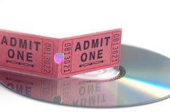 Het kaartje van de film en DVD Stock Afbeelding