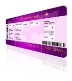 Het kaartje van de luchtvaartlijn instapkaart over wit wordt geïsoleerd dat royalty-vrije illustratie