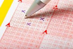 Het kaartje van het lotto Stock Foto's