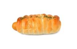 Het kaasachtige broodje van de kippenworst op wit Stock Fotografie