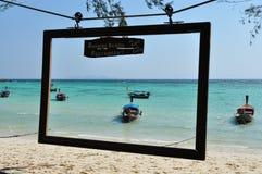 Het kader blauwe oceaan van de strandfoto Royalty-vrije Stock Afbeelding