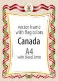 Het kader en de grens met het wapenschild en het lint met de kleuren van Canada markeren Stock Fotografie