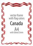 Het kader en de grens met het wapenschild en het lint met de kleuren van Canada markeren Royalty-vrije Stock Fotografie