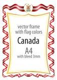 Het kader en de grens met het wapenschild en het lint met de kleuren van Canada markeren Royalty-vrije Stock Afbeelding