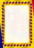 Het kader en de grens van lint met Andorra markeren, malplaatjeelementen voor uw certificaat en diploma Vector stock illustratie