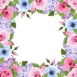 Het kader met roze, blauwe en purpere rozen, lisianthus en sering bloeit Vector illustratie Royalty-vrije Stock Foto's