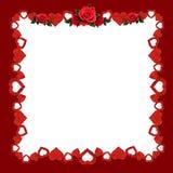 Het kader met schittert harten en rood nam bloemen toe Stock Fotografie