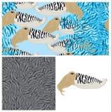 Het kader naadloos patroon van de inktvissencamouflage Royalty-vrije Stock Afbeeldingen