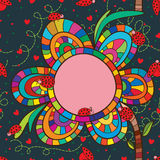 Het kader naadloos patroon van de lieveheersbeestjebloem Stock Foto