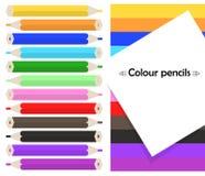 Het kader op achtergrond met kleurpotloden kleurt potloden Vector Royalty-vrije Stock Foto