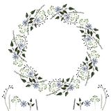Het kader van bloemvektor van eenvoudige gevoelige botanische elementen, bloemen en geometrische vormen, voor het cre?ren van int royalty-vrije illustratie