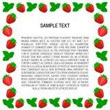 Het kader van de bessenaardbei met tekst Stock Afbeeldingen