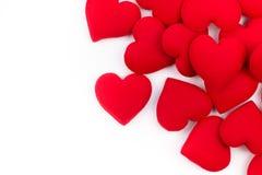 Het kader van de groetkaart van rode harten op een witte achtergrond met Exemplaarruimte en het gebruiken als Valentine-dagconcep Stock Foto's