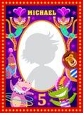 Het kader van de jonge geitjesfoto met de kunstenaars van het beeldverhaalcircus Royalty-vrije Stock Foto
