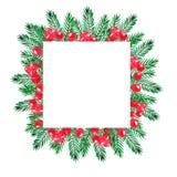 Het kader van de Kerstmiswaterverf met groene pijntakken en rode bessen royalty-vrije illustratie