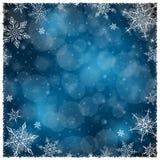 Het Kader van de Kerstmiswinter - Illustratie Donkerblauwe Kerstmis - Leeg Kadervierkant Stock Foto