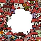Het kader van de stadsschets, naadloos patroon voor uw Stock Afbeelding