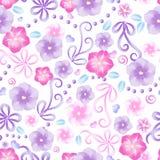 Het in kader van de waterverfbloem De zomer bloemen met viooltjes en Royalty-vrije Illustratie