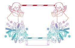 Het kader van gradiëntkerstmis met leuke engelen De ruimte van het exemplaar stock illustratie