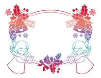 Het kader van gradiëntkerstmis met leuke engelen De ruimte van het exemplaar vector illustratie