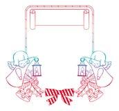 Het kader van gradiëntkerstmis met leuke engelen De ruimte van het exemplaar royalty-vrije illustratie