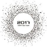 Het kader van Gray Circle New Year 2017 op witte Achtergrond Stock Foto