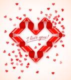 Het kader van het hartsymbool van rood spiraalvormig lint met hartenconfettien Royalty-vrije Stock Fotografie